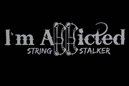 08b6d440cab0d String Stalker Bow Hunting I m Addicted Decal