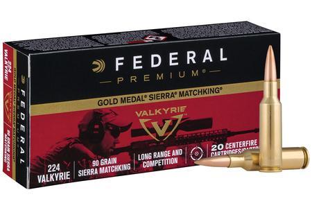 FEDERAL AMMUNITION 224 Valkyrie 90 gr Sierra MatchKing BTHP Gold Medal 20/Box