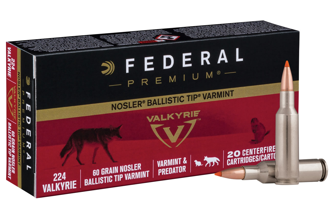 224 Valkyrie 60 gr Nosler Ballistic Tip Varmint 20/Box