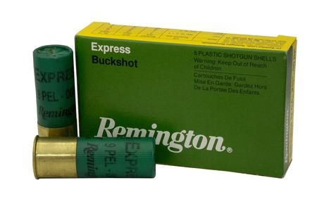 REMINGTON 12 Gauge 2-3/4-In 9 Pellet 00 Buck Express Buckshot Police Trade Ammo 5/Box
