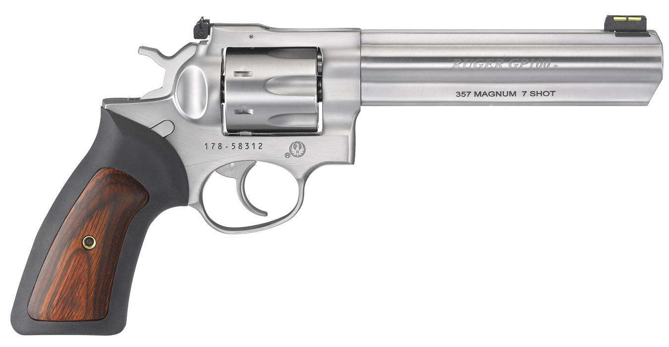 ruger gp100 357 magnum 7 shot double action revolver with 6 inch