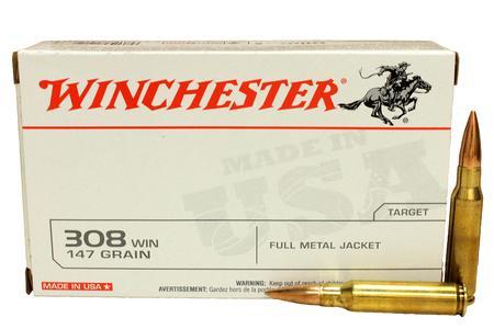 Winchester 308 Win 147 gr FMJ Boat-Tail Police Trade Ammo 20/Box