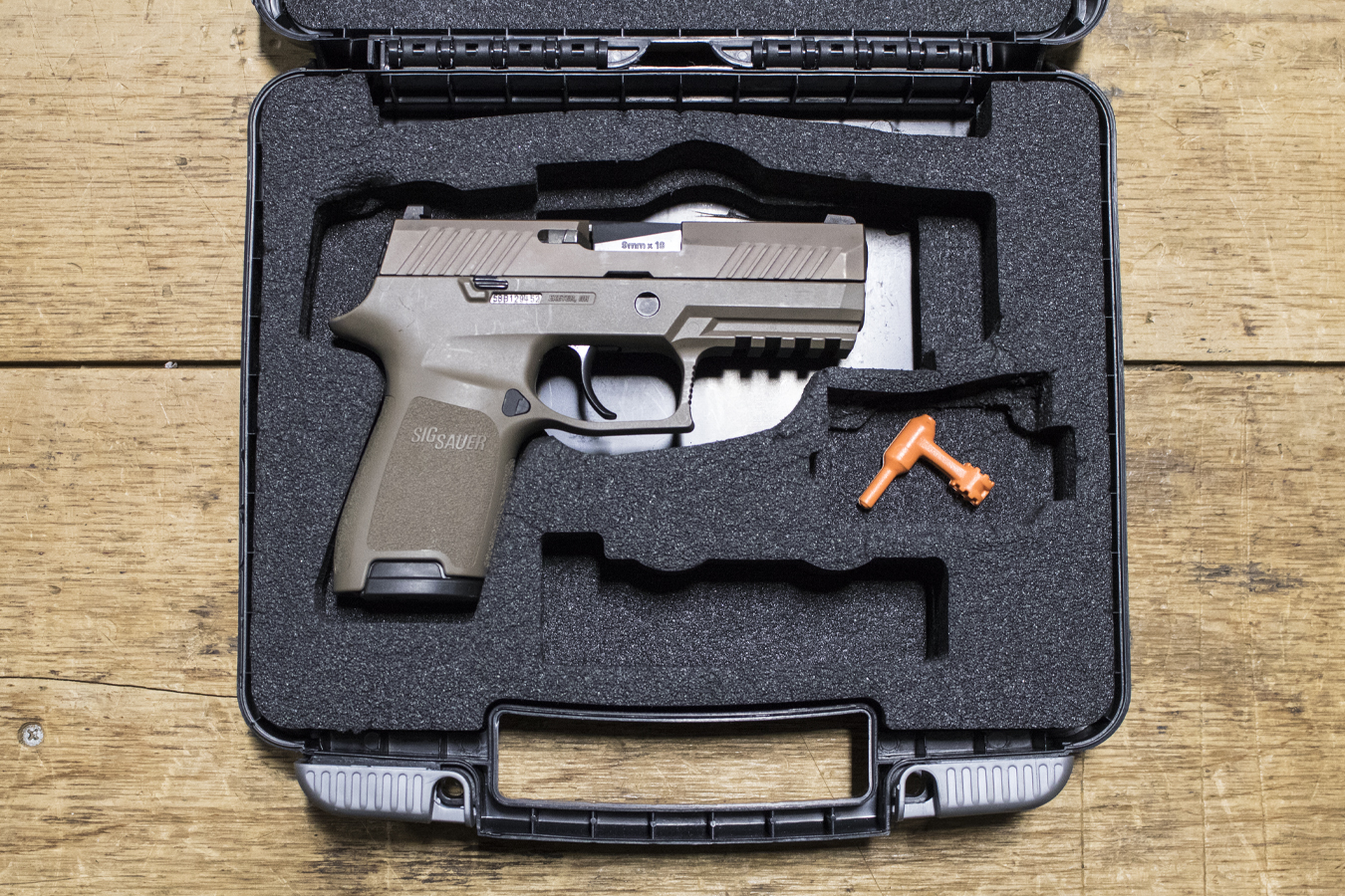 P320 Compact 9mm Flat Dark Earth Police Trade-in Pistols with Night Sights  (Very Good Condition)