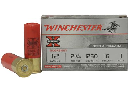 WINCHESTER AMMO 12 Gauge 2-3/4 inch Super X 16 Pellets Buffered 1 Buckshot 5/Box