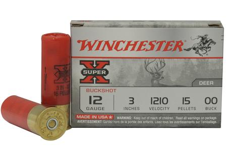 WINCHESTER AMMO 12 Gauge 3 inch Super X 15 Pellet Buffered 00 Buckshot 5/Box