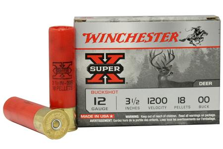 Winchester 12 Gauge 3 1/2 inch Super-X 18 Pellets Buffered 00 Buckshot 5/Box