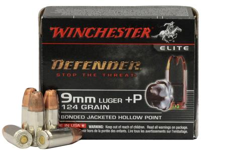 Winchester 9mm Luger +P 124 gr Bonded JHP PDX1 Defender Elite 10/Box