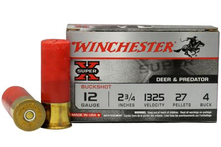 Winchester 12 Gauge 2 3/4 in. 27 pellets 4 Buck Super-X Buckshot 5/Box