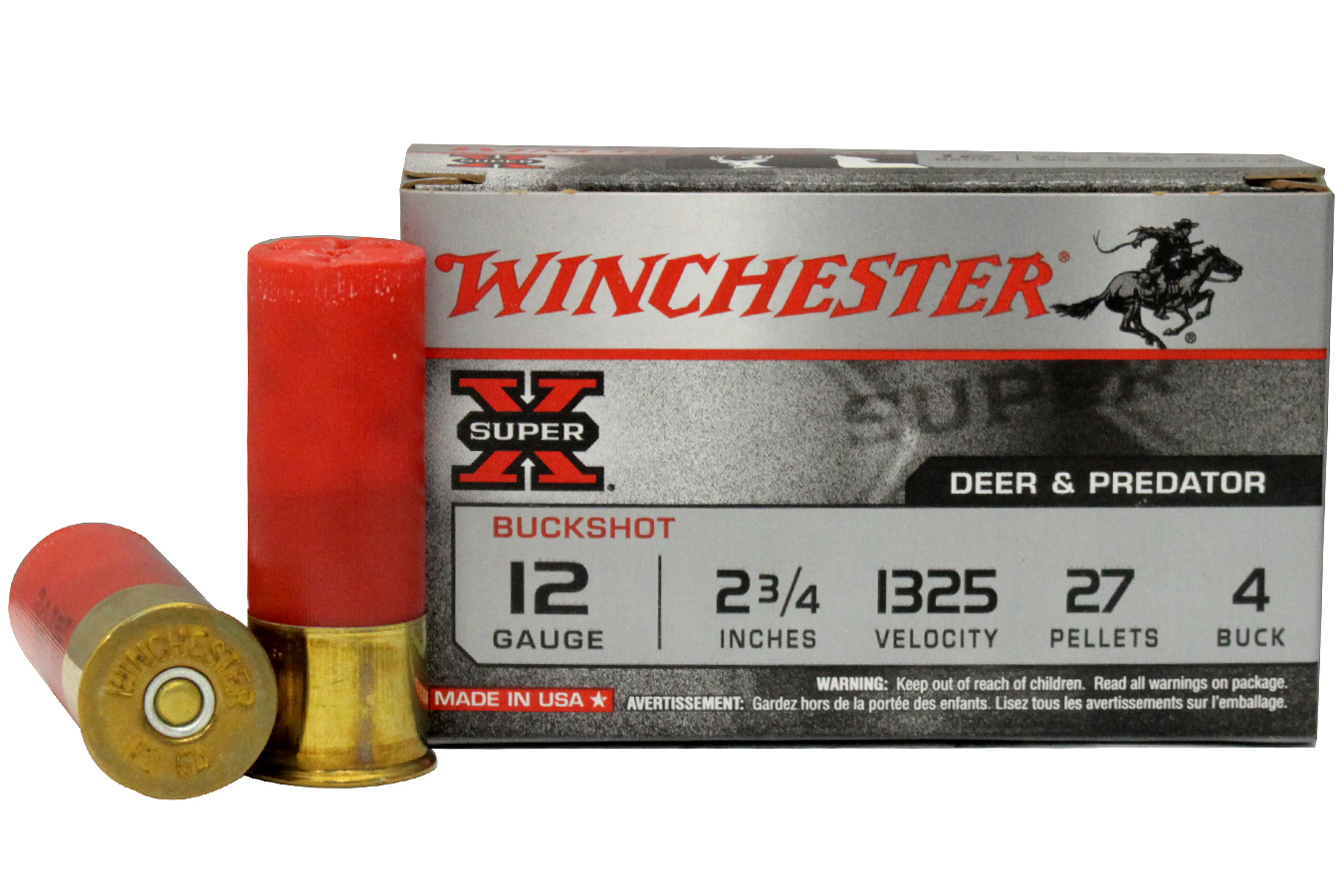 Winchester 12 Ga 2 3 4 27 Pellets Buck 5 Box Sportsmans Outdoor Super Pel 12ga Buf