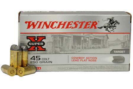 WINCHESTER AMMO 45 Colt 250 gr Lead Flat Nose Super X Cowboy Action 50/Box