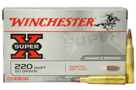 WINCHESTER AMMO 220 Swift 50 gr Jacketed Soft Point Super X 20/Box