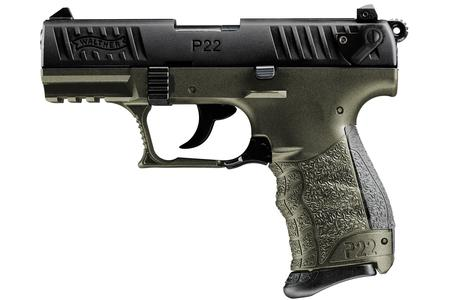 Walther P22Q Military 22LR Rimfire Pistol with OD Green Frame