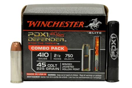 WINCHESTER AMMO 45 Colt 225 gr JHP and 410 GA 2.5 Inch PDX1 Defender Combo Pack 20/Box