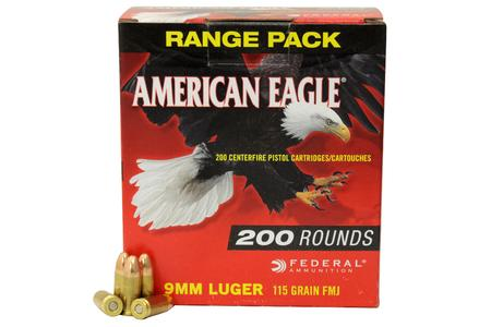 Federal 9mm 115 gr American Eagle FMJ 200/Box