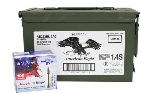 Federal 223 Rem 55 gr FMJ 500 Rounds with Ammo Can