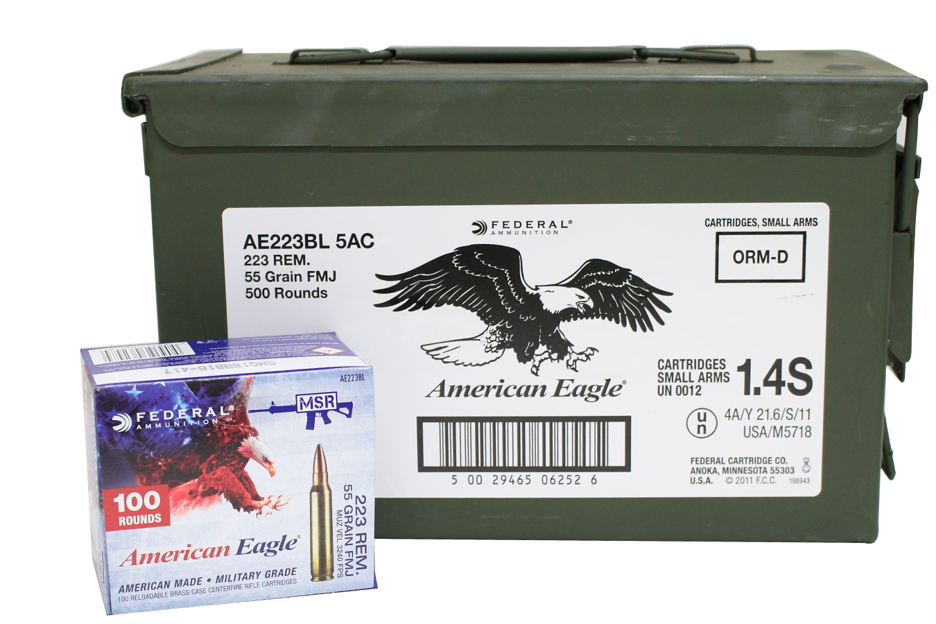 223 55 GR FMJ 500 ROUNDS WITH AMMO CAN