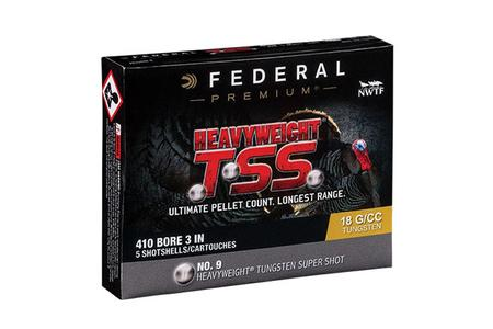 FEDERAL AMMUNITION 410 Gauge 3 inch 13/16 oz Heavyweight TSS #9 5/Box