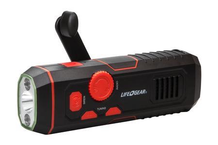 STORM PROOF USB CRANK FLASHLIGHT W/FM RADIO