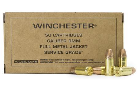 Winchester 9mm Luger 115 gr FMJ FN Service Grade 50/Box
