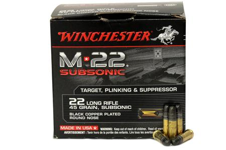 Winchester 22 LR 45 gr M22 Black Copper Plated Round Nose Subsonic 400/Box