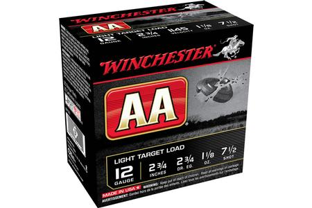 Winchester 12 GA 2 3/4 Inch 1 1/18 oz 7.5 Shot AA Light Target Load 25/Box