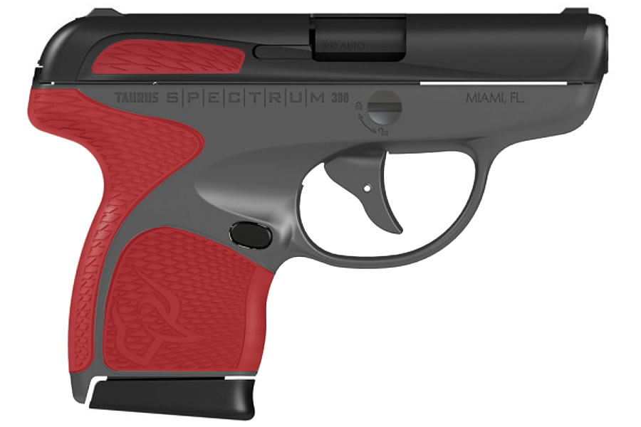 Spectrum 380 ACP Carry Conceal Pistol with Gray Frame and Torch Red Grips