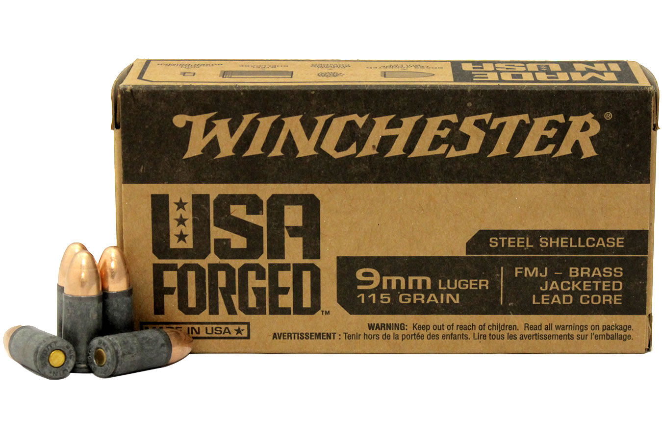 9MM LUGER  115 GR FMJ- BRASS JACKETED LEAD CORE