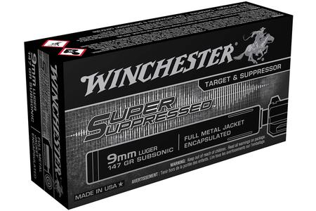 WINCHESTER AMMO 9mm Luger 147 gr FMJ-Encapsulated Super Suppressed 50/Box