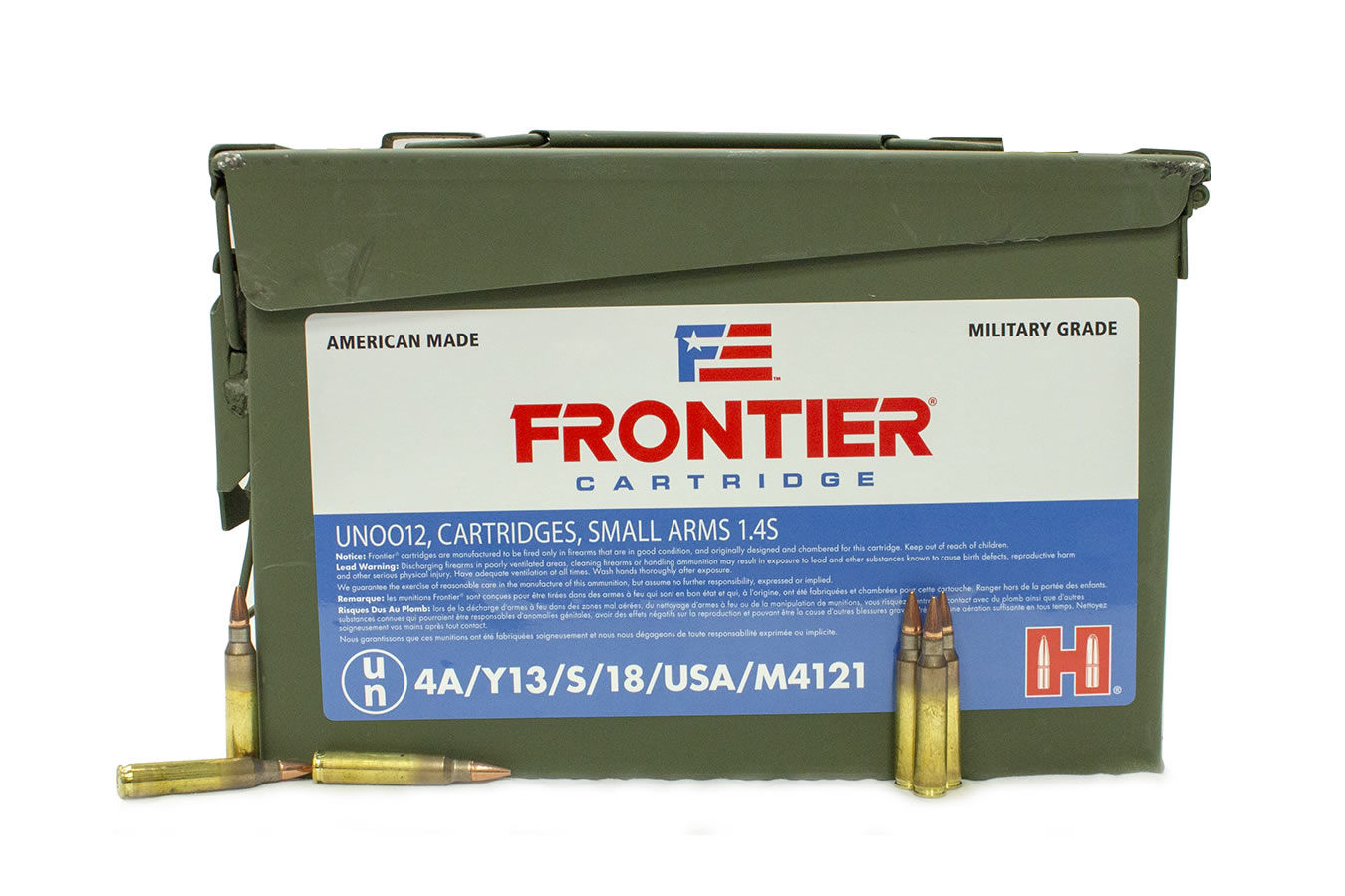 5.56 NATO 62 GR FRONTIER FMJ 500 W/CAN