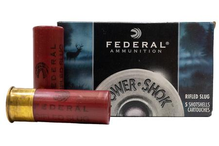 FEDERAL AMMUNITION 12 Gauge 2 3/4 1 oz Power Shok Rifled Slug Police Trade Ammo 5/Box