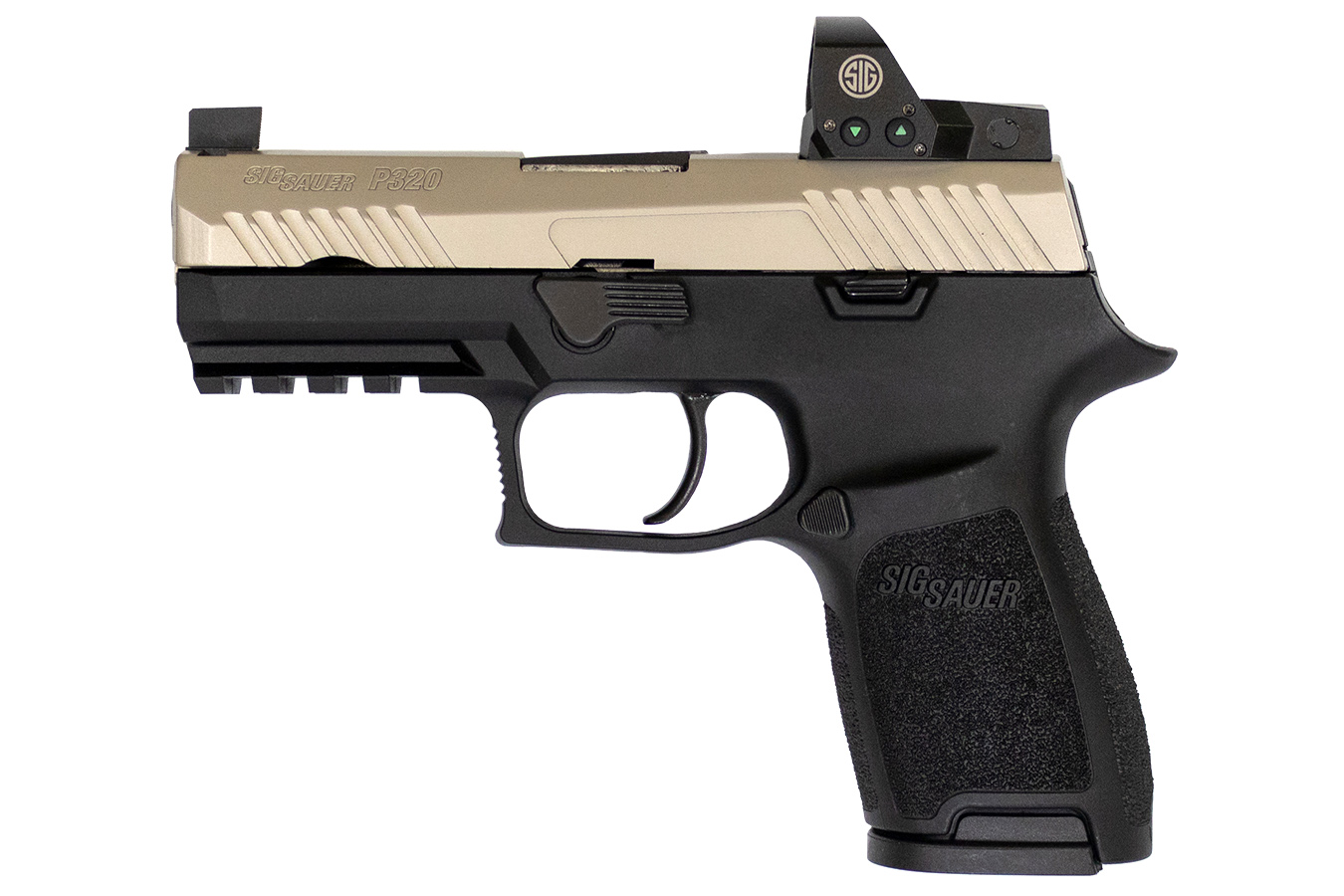 P320 Compact Two-Tone RX 9mm Pistol with ROMEO1 Reflex Sight and Nickel PVD  Slide