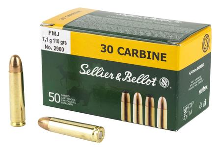 SELLIER AND BELLOT .30 Carbine 110 gr SP Ammo 50/Box