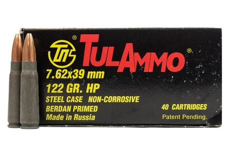 TULA AMMO 7.62x39 122 gr Hollow Point Steel Case 40/Box