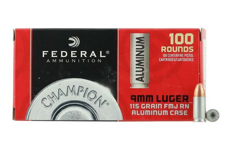 FEDERAL AMMUNITION 9mm Luger 115 gr FMJ Aluminum Case Champion 100/Box