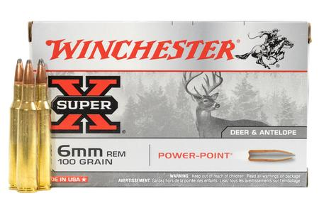 WINCHESTER AMMO 6mm REM 100 gr Super X Power Point 20/Box