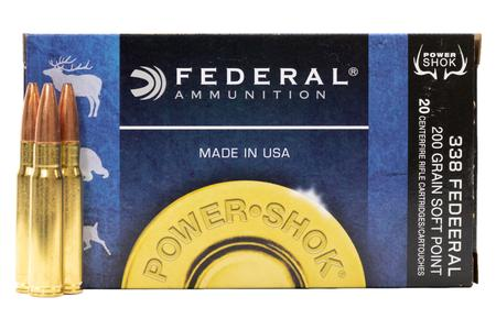 FEDERAL AMMUNITION 338 Federal 200 gr Soft Point Power Shok 20/Box
