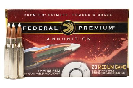 FEDERAL AMMUNITION 7mm-08 Remington 140 gr Nosler AccuBond 20/Box