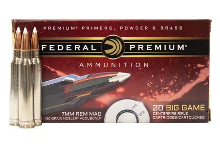 FEDERAL AMMUNITION 7mm Remington Magnum 160gr Nosler Ballistic Tip 20/Box