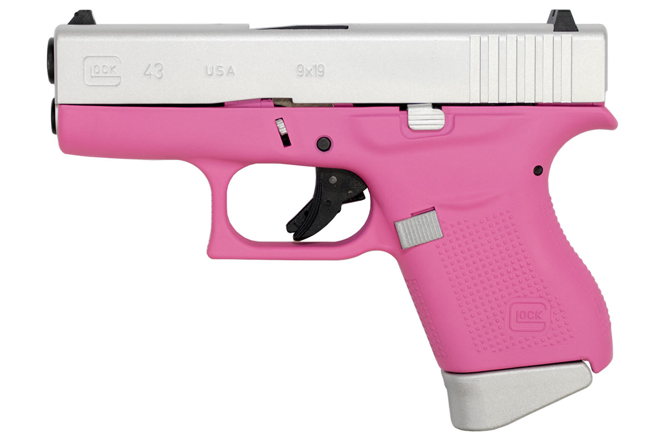 Glock 43 9mm Single Stack Pistol With Cerakote Pink Frame And