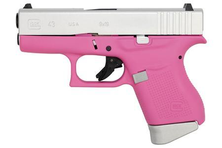 Glock 43 9mm Single Stack Pistol With Cerakote Pink Frame And Aluminum Slide