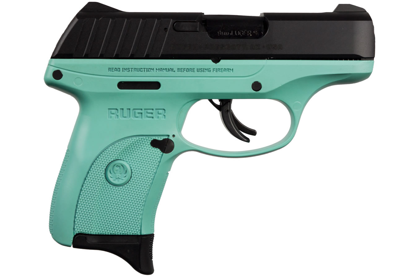 RUGER EC9S 9MM WITH TURQUOISE GRIP FRAME