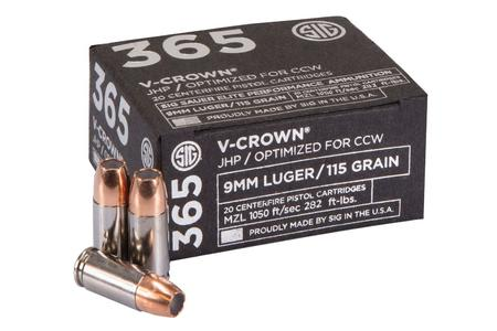 SIG SAUER 9mm 115 gr Elite V-Crown JHP 365 Ammo 20/Box