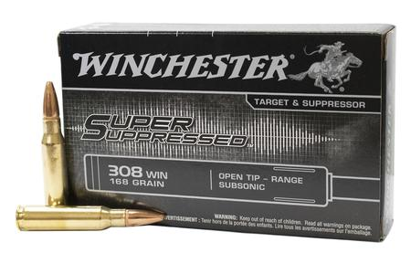 WINCHESTER AMMO 308 Win 168 gr Open Tip Super Suppressed 20/Box