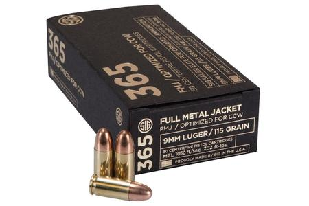 SIG SAUER 9mm 115 gr FMJ Elite 365 Ammo 50/Box