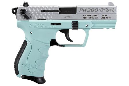 Walther PK380 380 ACP Centerfire Pistol with Angel Blue Frame and Nickel  Slide