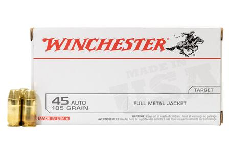 Winchester 45 Auto 185 gr FMJ Flat Nose Police Trade Ammo 500/Case