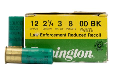 REMINGTON 12 Gauge 2 3/4 inch 8 Pellets 00 Buck Low Recoil Police Trade Ammo 25/Box