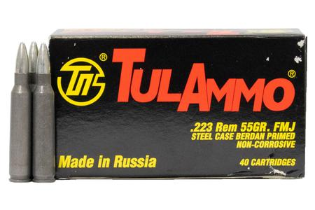 Tula Ammo 223 Rem 55 gr FMJ Steel Case 40/Box