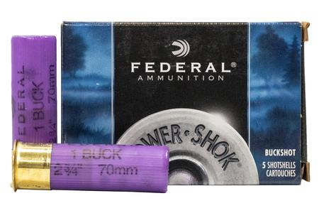 FEDERAL AMMUNITION 16 Gauge 2 3/4 inch 12 Pellet  #1 Buck Power Shok 5/Box