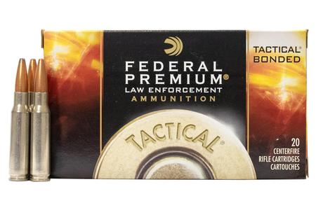 Federal 308 Winchester 165 gr Tactical Bonded Soft Point Police-Trade Ammo 20/Box